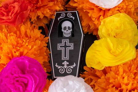 Colorful flowers and a coffin with a skeleton. Decoration for Day of the Dead