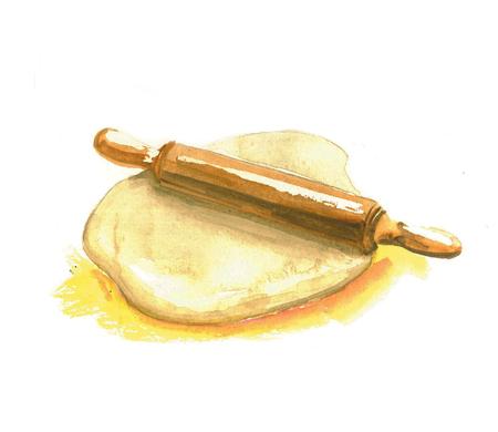 aquarel illustratie van de deegrol en deeg