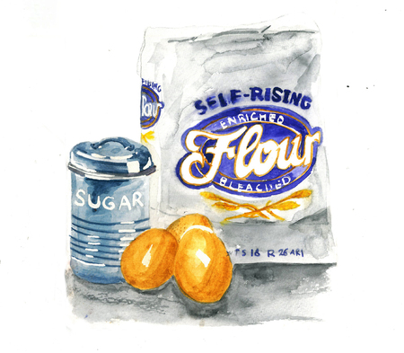 tin: a watercolor illustration of flour on sack, 3 egg, and sugar tin