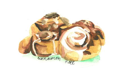 a watercolor illustration of cinnamon roll Ilustração