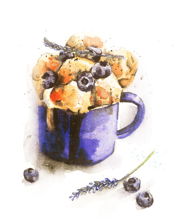 blueberry: watercolor illustration of blueberry ice cream on a mug