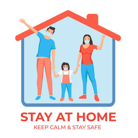 Healthy family stay at home to prevent covid-19 disease. Stay healthy during corona virus outbreak