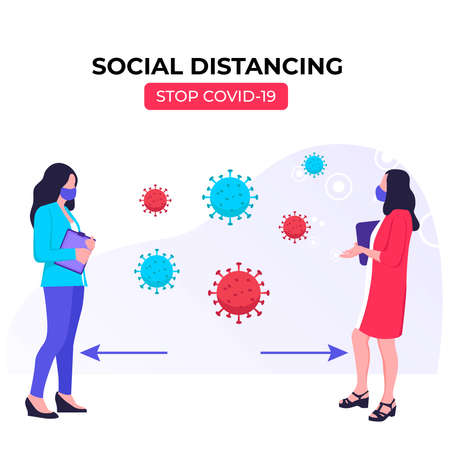 Social distancing, Keeping the distance in public to prevent and stop spread corona virus (COVID-19).