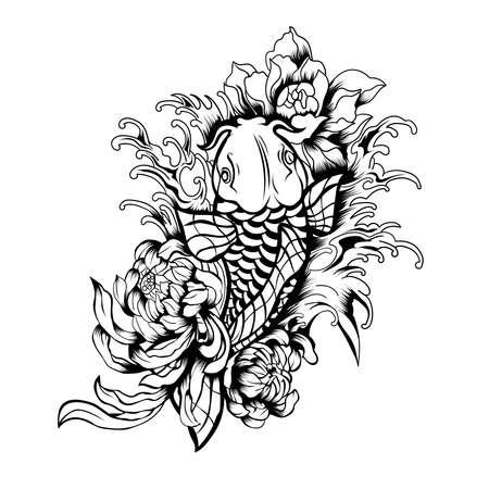 Betta Fish Flower Lineart. Perfect for t-shirt/apparel, merchandise, pin design, etc Ilustración de vector