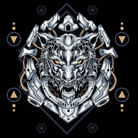 Mecha Wolf Sacred Geometry. Perfect for t-shirt/apparel, merchandise, pin design, etc