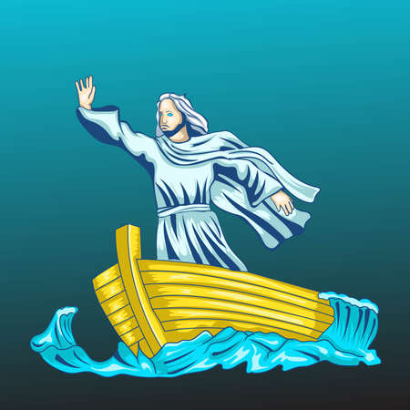 Jesus calm the sea illustration. Perfect for t-shirt design, merchandise, apparel, pin, etc