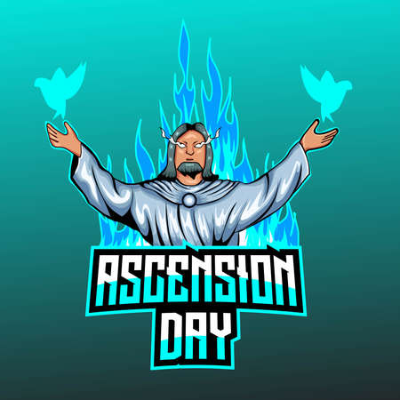 Illustration Vector Graphic of Ascension Day. Perfect for t-shirt design, merchandise, apparel, etc