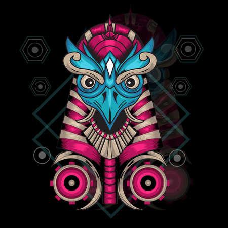 Illustration Vector Graphic of Garuda Anubis. Perfect for apparel design, merchandise,etc Ilustração