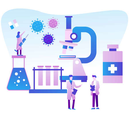 Illustration vector graphic of Give the Vaccine. suitable for healthcare, web design, mobile apps, etc