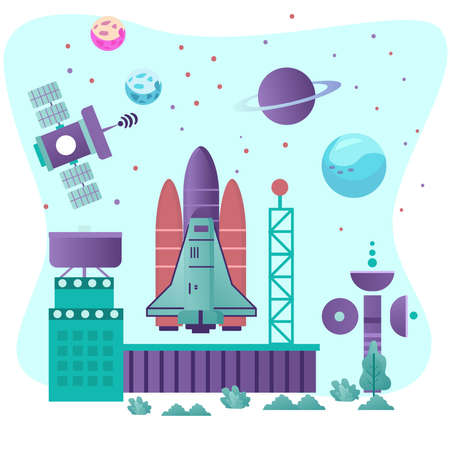 Illustration vector graphic of Space Research. suitable for company website and UI design