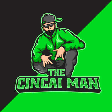 Bad boy mascot logo template. perfect for gaming logo, merchandise, apparel, pin, etc