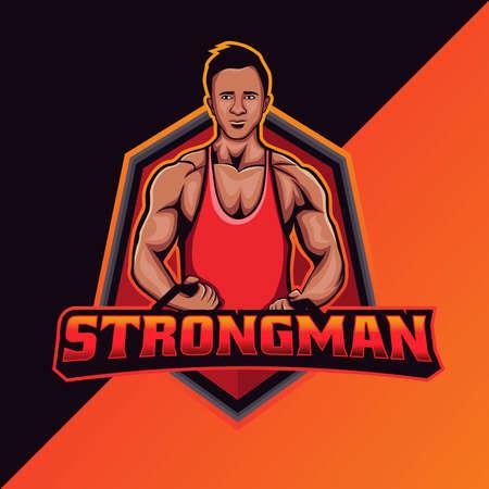 Strongman mascot logo template. perfect for team logo, merchandise, apparel, etc