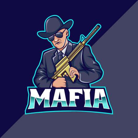 Mafia mascot logo template. perfect for team logo, merchandise, etc Logo