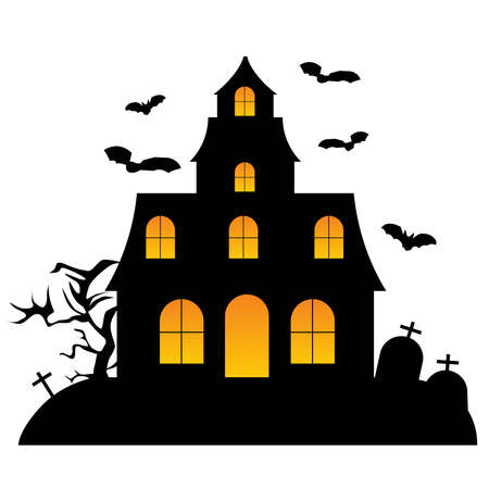 Happy Halloween. haunted house illustration. invitation card. vector illustration Ilustração Vetorial