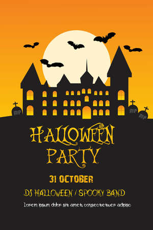 Halloween invitation poster/card. Vector set of halloween party invitations
