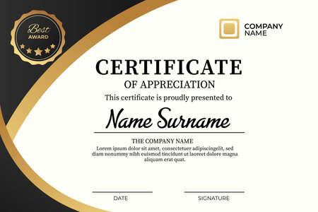 Creative certificate of appreciation template. modern and elegant template