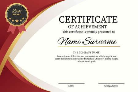 creative certificate of achievement award template. modern and elegant template design Vektorgrafik