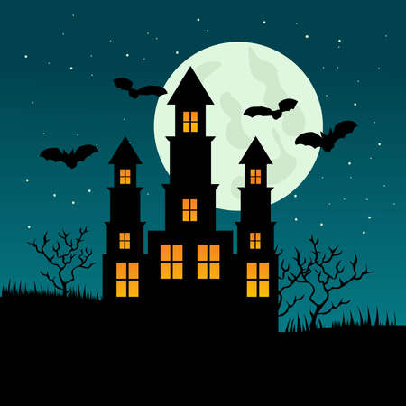Halloween night background with creepy castle. Vector Illustration Vector Illustratie
