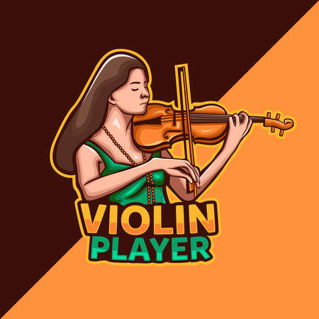 Violin Player mascot  . teen girl playing violin musical instrument Ilustrace