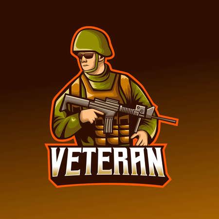 Veteran soldier holding sniper mascot  design.  イラスト・ベクター素材