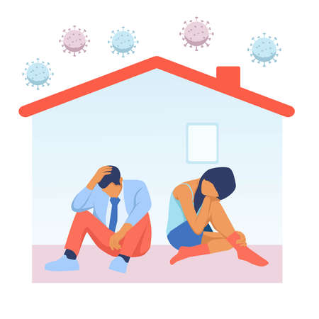 Depressed man and woman in house with corona virus around. People tired of quarantine. Vector about distress, depression, and tiredness in home isolation in covid-19 epidemic