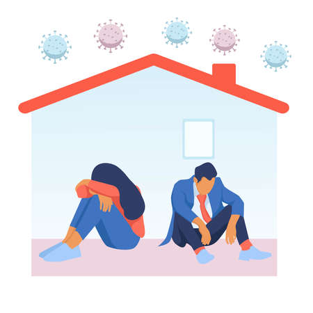 Depressed man and woman in house with corona virus around. People tired of quarantine. Vector about distress, depression, and tiredness in home isolation in covid-19 epidemic Vecteurs