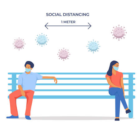 Social distancing with people wearing a medical mask.