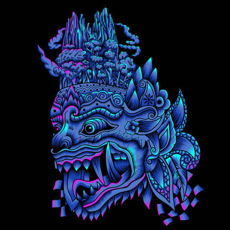 Barong Balinese Mask Illustration