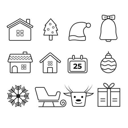 Christmas icons set. Vector illustrations. Illustration