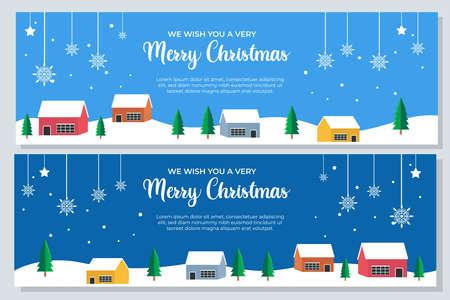 set of christmas banner vector illustration