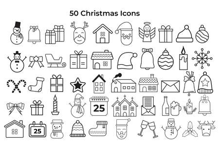 Christmas icons vector set. 矢量图像