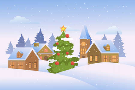 Christmas landscape with christmas tree and houses. vector illustration