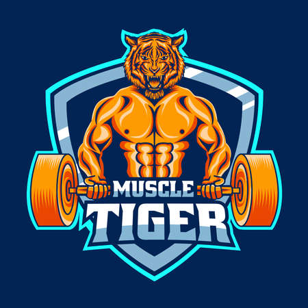Muscle tiger mascot logo template. easy to edit and customize