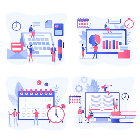 Effective time management symbols flat elements set with tasks planning training activities schedule checkpoints isolated vector illustration
