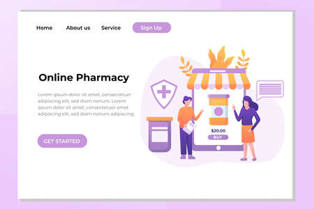 Unique Modern flat design concept of Online Pharmacy for website and mobile website. Landing page template. Easy to edit and customize. Vector illustration