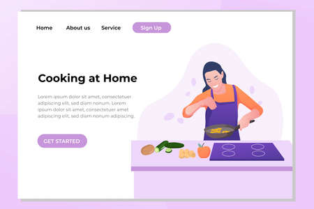 Vector hand drawn illustration. A girl in an apron is cooking.