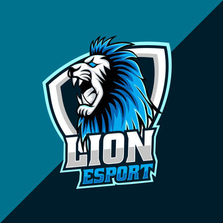 Lion head mascot logo template for esport team. easy to edit and customize