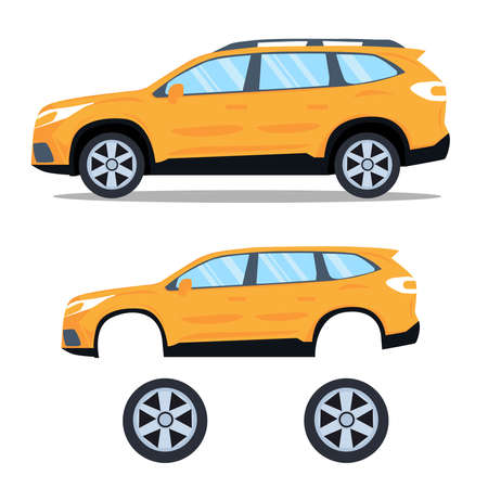 Flat yellow sport car with isolated white background vector.Modern car design Vettoriali