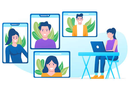 Video conference illustration. People on computer screen taking with colleague. Videoconferencing and online meeting workspace vector page