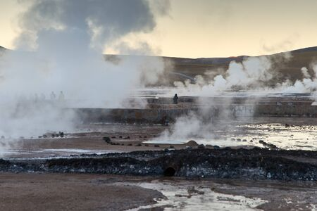 Tatio Geysers early morning at San Pedro de Atacama, Antofagasta - Chile. Desert. Andes.