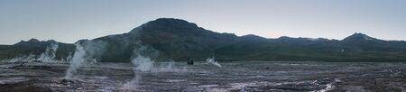Panoramic shot at Tatio Geysers early morning at San Pedro de Atacama, Antofagasta - Chile. Desert. Andes.