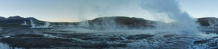 Panoramic shot at Tatio Geysers early morning.