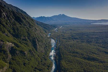 Aerial landscape of Osorno Volcano and Falls of Petrohue - Puerto Varas, Chile, South America. Standard-Bild