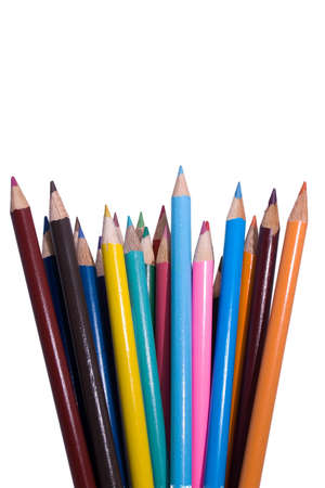 fanned: A group of coloured pencils fanned out against a plain white background.