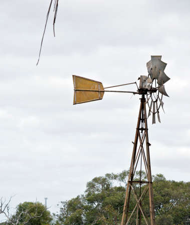 the windmill regulates the water pump for watering the animals