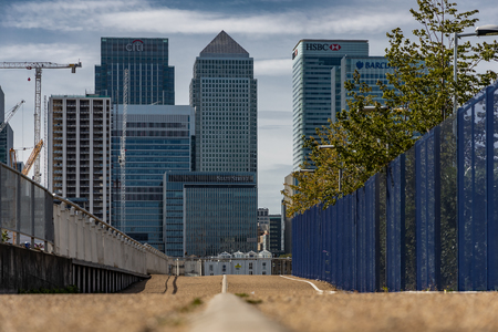 A cityscape of London featuring Canary Wharf Editorial