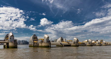 Part of The Thames Barrier showing the City of London between the gates Editorial