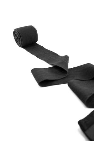 footwork: Black Cotton Boxing Hand wrap on White Background