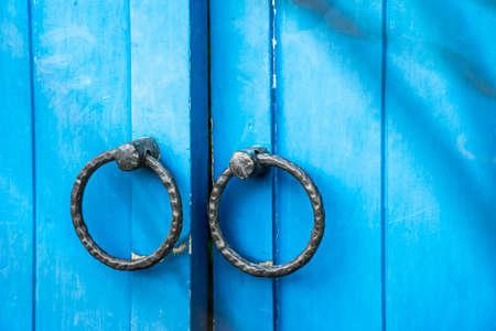 door handle: Blue antique door
