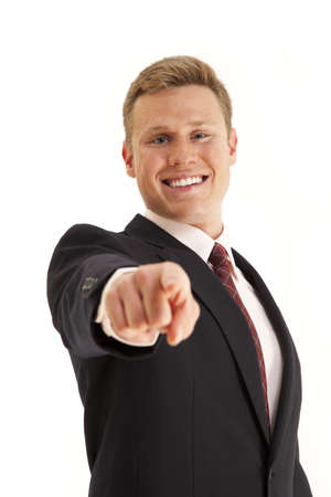 Young businessman pointing finger at camera Stock Photo - 7598070